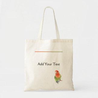 Lovebird en blanco bolsa tela barata