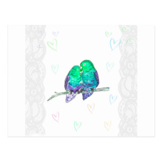 Lovebirds azules y verdes con el watercolour del postal