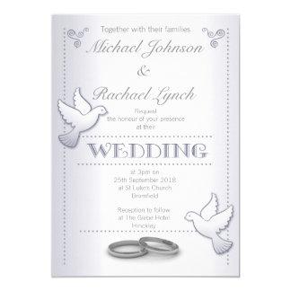 Tarjeta Lovebirds de la plata del vintage de la invitación