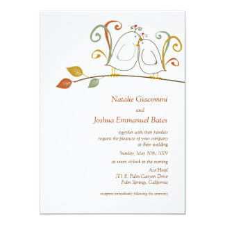Lovebirds en ramas que casan invitaciones invitación 12,7 x 17,8 cm