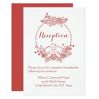 Lovebirds florales de Borgoña de la recepción que Invitación 8,9 X 12,7 Cm