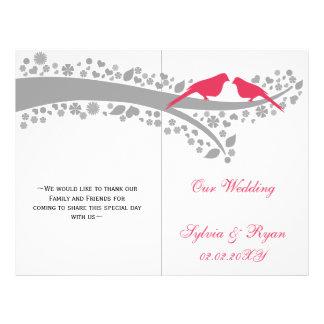lovebirds rosados banales doblados casando folleto 21,6 x 28 cm