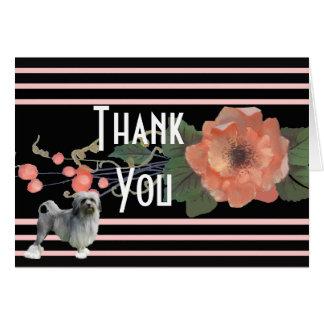 Lowchen en el melón floral le agradece tarjeta