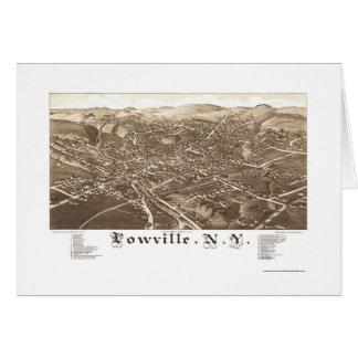 Lowville, mapa panorámico de NY - 1885 Tarjeta De Felicitación