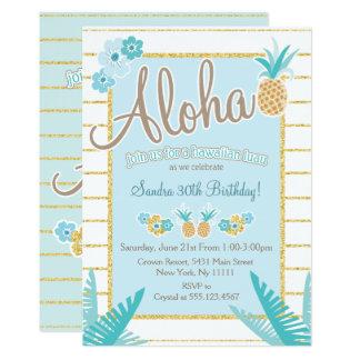 Luau, invitaciones hawaianas del fiesta de la piña invitación 12,7 x 17,8 cm