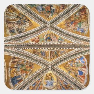 Luca Signorelli: Frescos del techo en la capilla Calcomania Cuadrada Personalizada