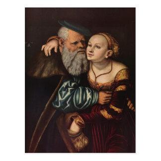 Lucas Cranach la anciano el viejo hombre en amor Postales