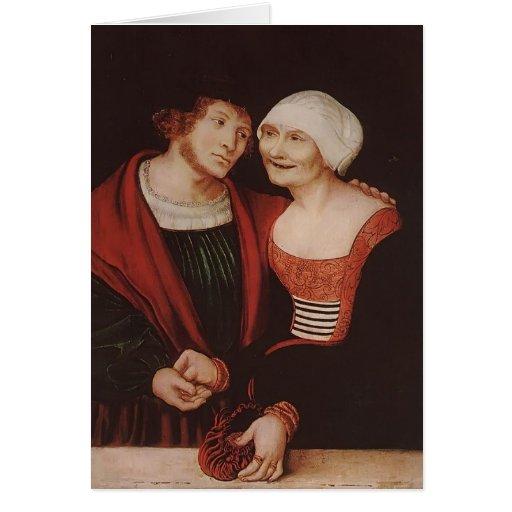 Lucas Cranach la anciano la mujer mayor enamorada Tarjetas