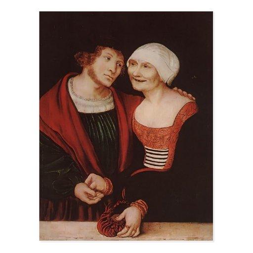 Lucas Cranach la anciano la mujer mayor enamorada Postal