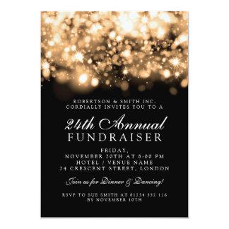 Luces chispeantes del oro corporativo formal del invitación 12,7 x 17,8 cm
