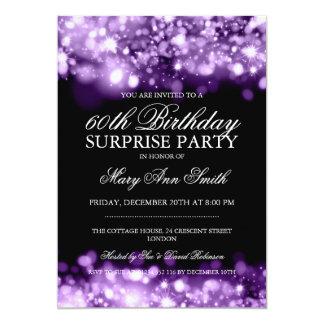 Luces chispeantes púrpuras de la fiesta de invitación 12,7 x 17,8 cm