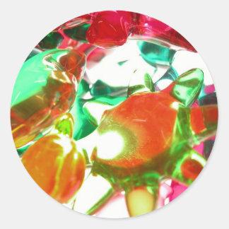 Luces coloreadas pegatina redonda