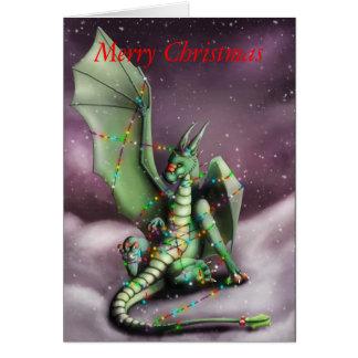 Luces de hadas del dragón del navidad tarjeta
