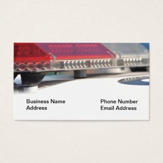 Luces de la sirena de policía en tarjeta de visita
