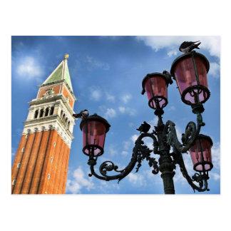 Luces de la torre y de calle de Venecia San Marco Postal