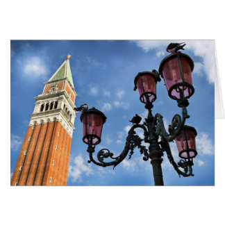 Luces de la torre y de calle de Venecia San Marco Tarjetón