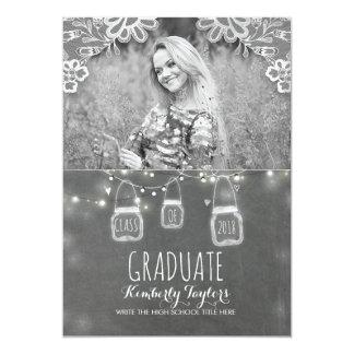 Luces de los tarros de albañil y graduación invitación 12,7 x 17,8 cm