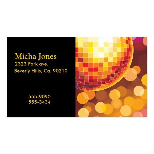 Luces de oro del tiempo del fiesta de disco tarjeta de visita