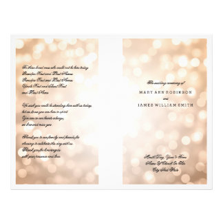 Luces del brillo del cobre del programa del boda folleto 21,6 x 28 cm