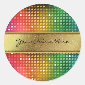 Luces enrrolladas del disco con la raya del nombre pegatina redonda
