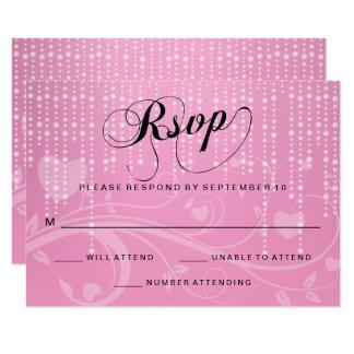 Luces florales y blancas rosadas elegantes - RSVP Invitación 8,9 X 12,7 Cm