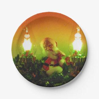 Luces retras de Santa y de la burbuja Plato De Papel
