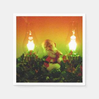 Luces retras de Santa y de la burbuja Servilletas De Papel