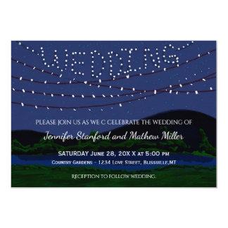 Luces rústicas de la secuencia del boda del país invitación 12,7 x 17,8 cm
