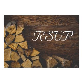 Luces rústicas elegantes de madera del fuego de invitación 8,9 x 12,7 cm