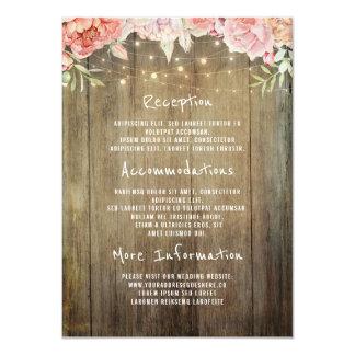 Luces rústicas florales que casan a la huésped de invitación 11,4 x 15,8 cm