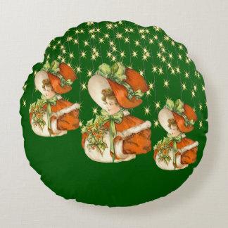 Luces verdes de la secuencia de ChristmasLady Cojín Redondo