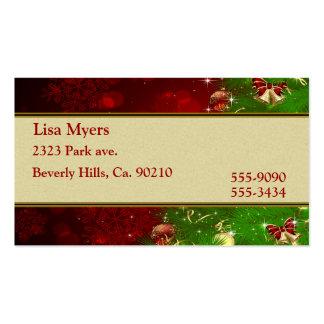 Luces y copos de nieve del árbol de navidad del tarjetas de visita