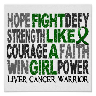 Lucha como un cáncer de hígado del chica 23 4 poster