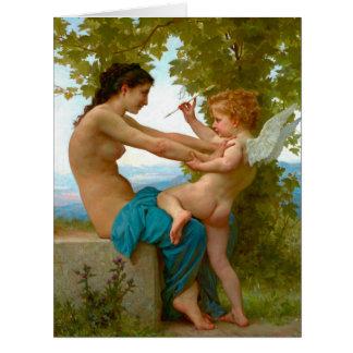 Lucha con el Cupid 1880 Tarjeta De Felicitación Grande