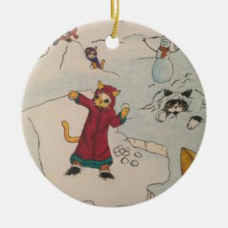 Lucha de la bola de nieve adorno navideño redondo de cerámica