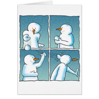 Lucha de la bola de nieve tarjeta de felicitación