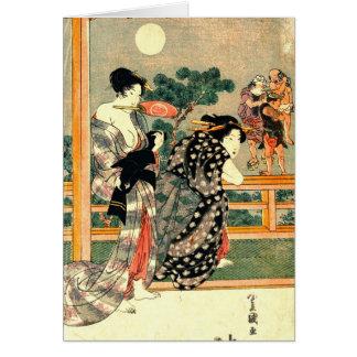 Lucha de sumo - díptica 1818 de la Luna Llena Tarjeta De Felicitación
