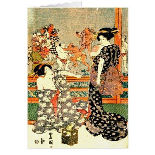 Lucha de sumo - la derecha de la díptica 1818 de l felicitaciones