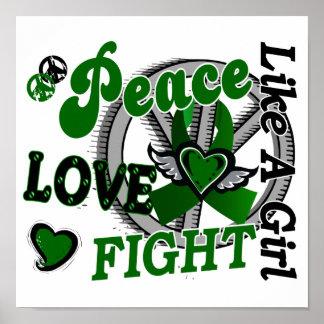 Lucha del amor de la paz como un cáncer de hígado impresiones