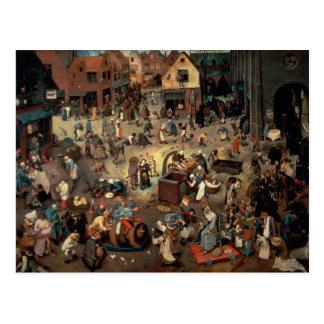 Lucha entre el carnaval y prestada, 1559 postal