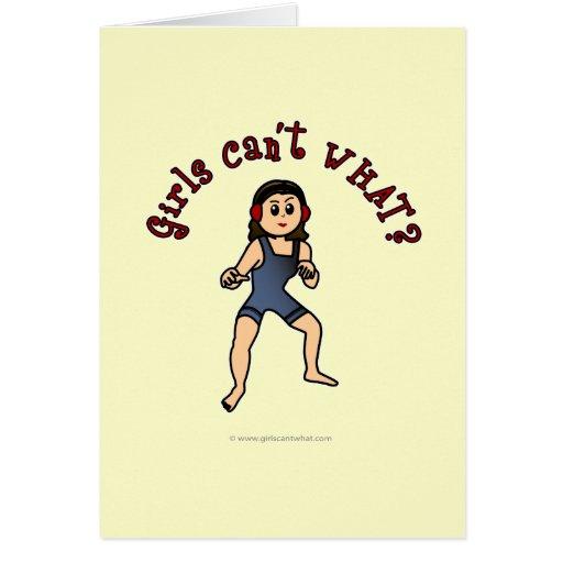 Lucha para mujer ligera tarjetas
