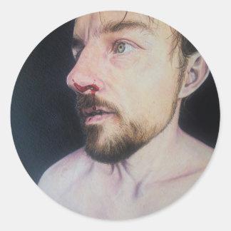 Lucha - pegatina del retrato de la pintura al óleo