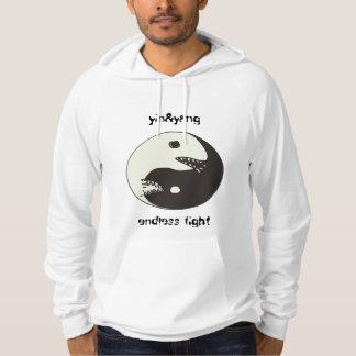 lucha sin fin de yang del yin con el texto pulóver