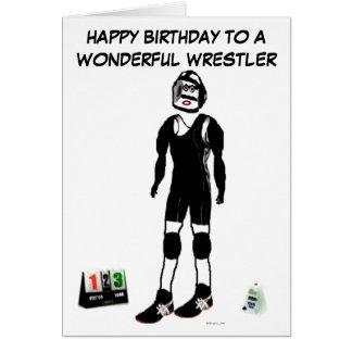 Luchador del feliz cumpleaños tarjeta de felicitación