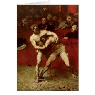 Luchadores, 1875 tarjeta de felicitación