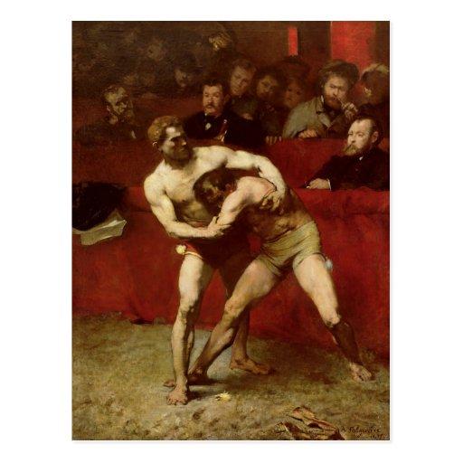 Luchadores, 1875 tarjeta postal