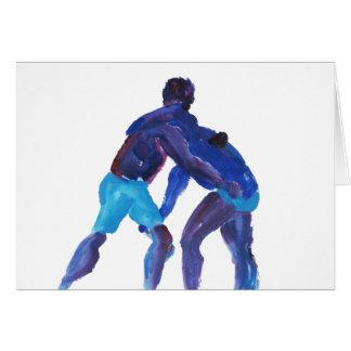 Luchadores azules tarjeta de felicitación