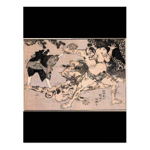 Luchadores del sumo, circa 1800's. Japón Postal