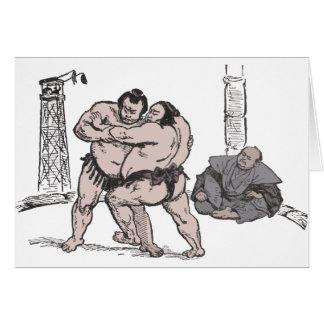 Luchadores del sumo tarjeta de felicitación