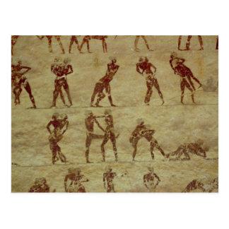 Luchadores, detalle de una pintura de pared de la postal